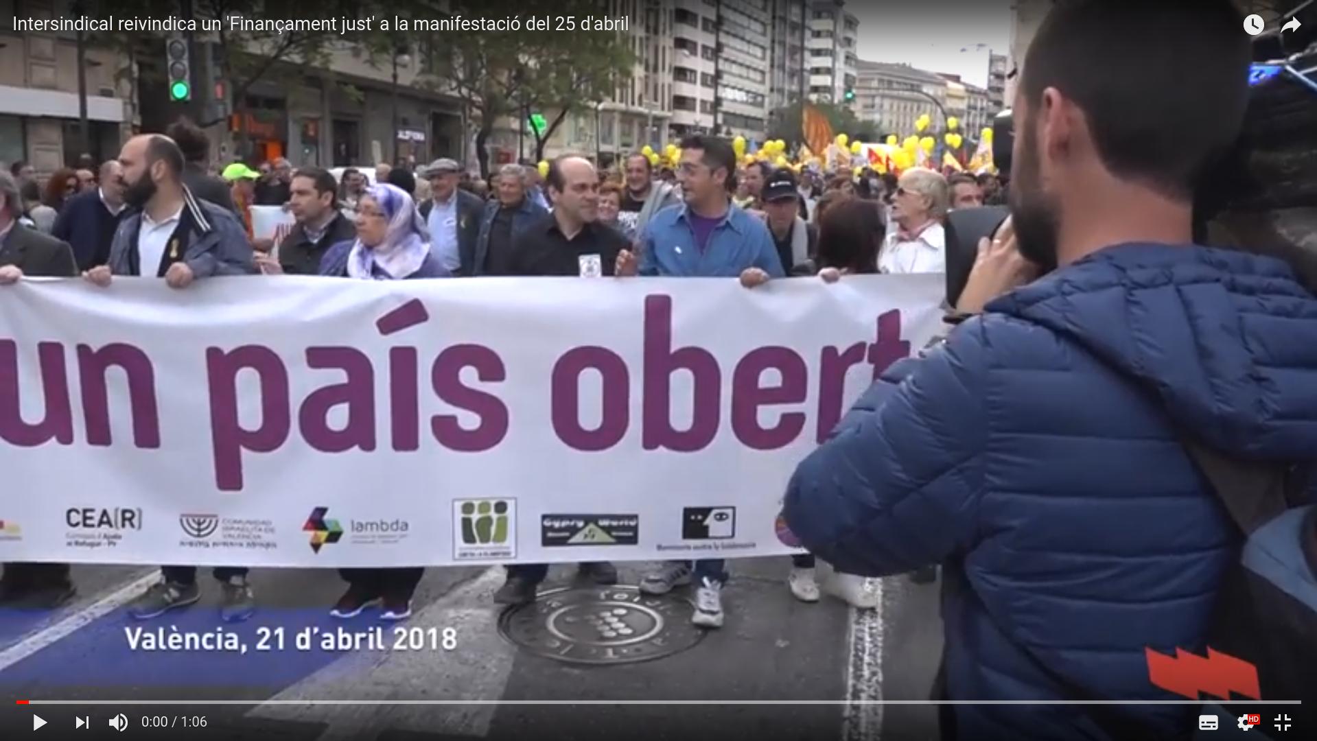 Intersindical reivindica un 'Finançament just' a la manifestació del 25 d'abril