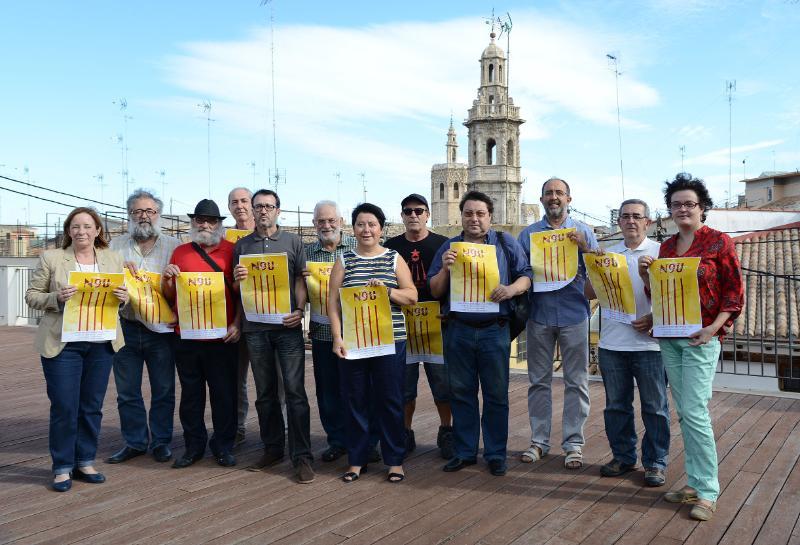 Membres de la Plataforma Nou d'Octubre, en la roda de premsa de hui.