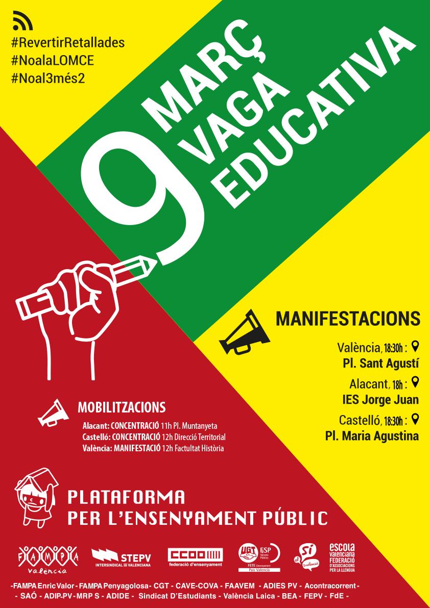Cartell unitari de convocatòria de la vaga del 9M