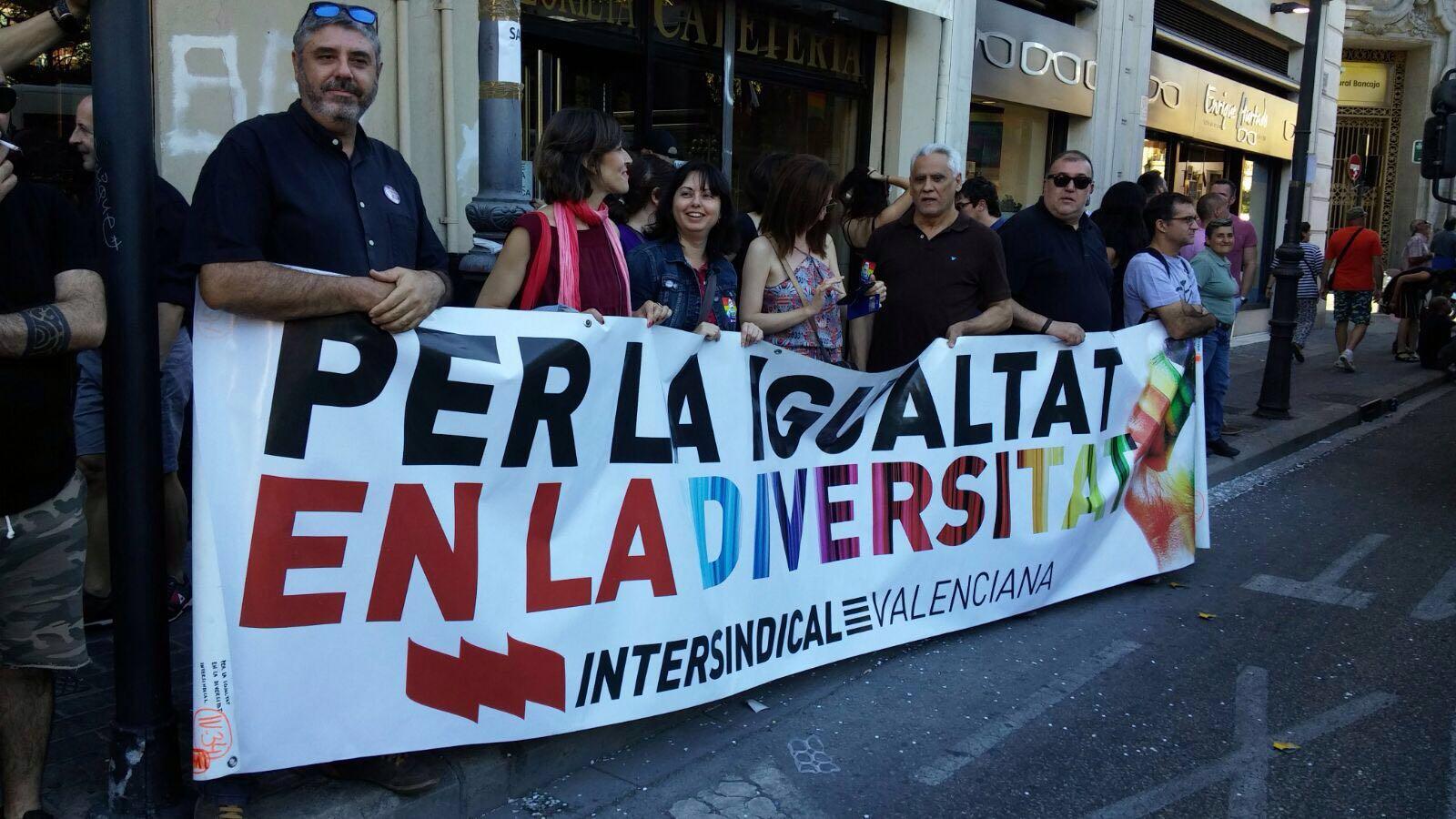 Intersindical Valenciana en la darrera manifestació de l'orgull LGTB a València