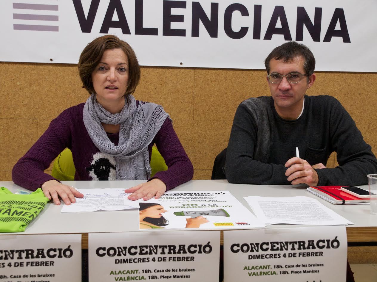 Encara Signes (CPI) i Marc Candela (STEPV) en la roda de premsa que anunciava les mobilitzacions acordades