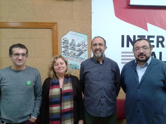 Marc Candela i Manuela Ferrer, de STEPV, amb Francesc Galiano i Agustí Cerdà, d'ERPV